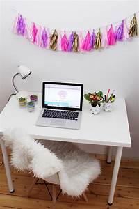 Gaming Zimmer Deko : diy party girlande aus seidenpapier selber machen schreibtisch makeover madmoisell diy blog ~ Markanthonyermac.com Haus und Dekorationen