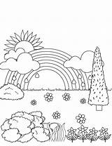 Paisaje Colorear Visitar Dibujos Paisajes Cielo Pintar sketch template