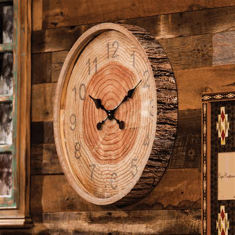 wood bark wall clock   stock