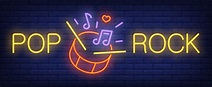 Free Vector | Pop, rock neon text with drum, sticks and ...