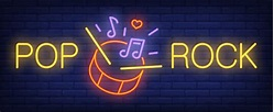 Pop, rock neon text with drum, sticks and music notes ...