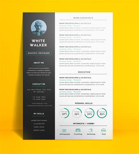 Free Graphic Design Resume Template Word by 20 Free Cv Resume Templates 2017 Freebies Graphic Design Junction