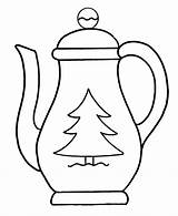 Teapot Coloring Pages Coffee Christmas Pot Colouring Drawing Tea Template Printable Clipart Outline Kettle Clip Pots Cliparts Teapots Pre Cup sketch template