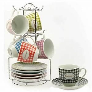 Support Tasse à Café : coffret 6 tasses et soucoupes avec support vichy ~ Teatrodelosmanantiales.com Idées de Décoration