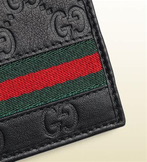 lyst gucci ssima leather web bi fold wallet  black  men