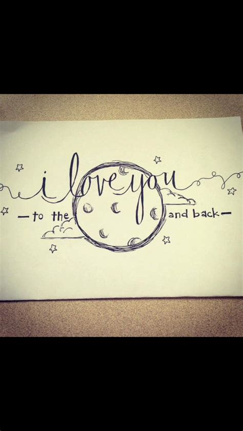 love    moon   drawing ink love