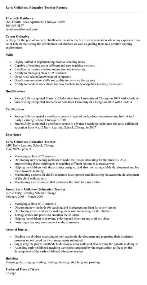 Early Childhood Resume Sle by Early Childhood Education Sle Resume Early Childhood