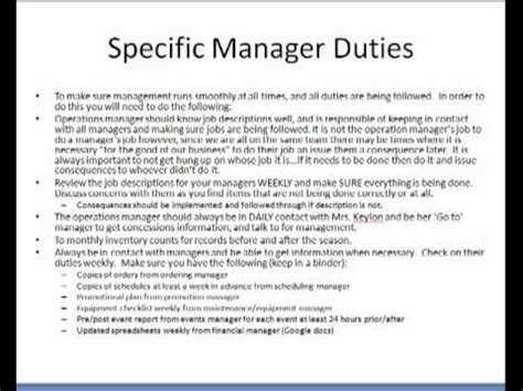 restaurant manager description 2016 recentresumes