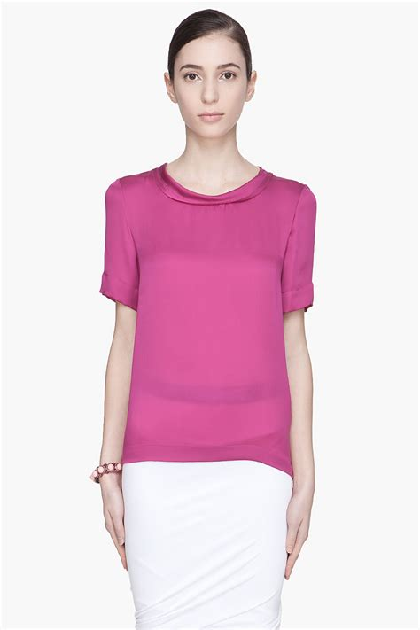 fuschia blouse lyst lanvin fuschia boatneck blouse in pink