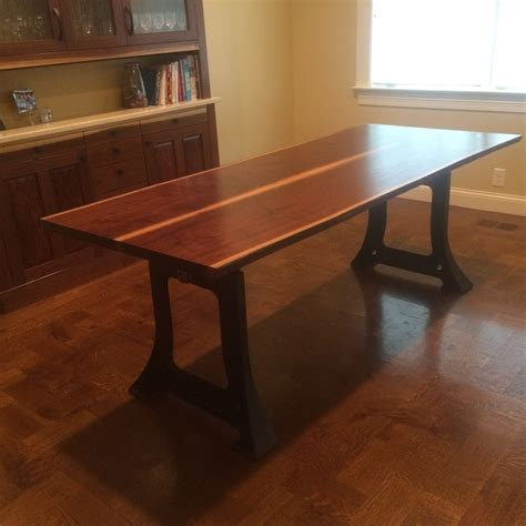 Walnut Table With Cast Iron Legs  Reinhardt Restorations