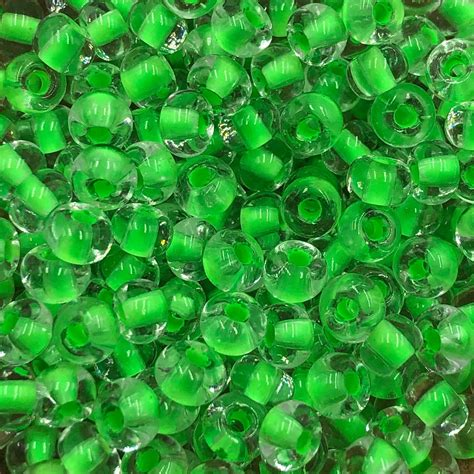 SIZE 6/0 #1504 Crystal Green Neon Lined - Capital City Beads