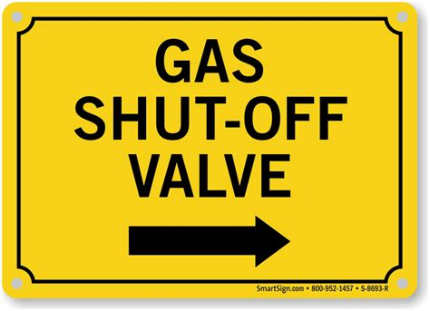 Gas Shutoff Valve Sign With Right Arrow  Sprinkler Signs