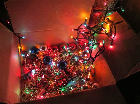 box of lights and ornaments pictures photos