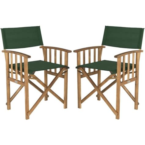2 wood directors chairs 2 teak patio chair set green