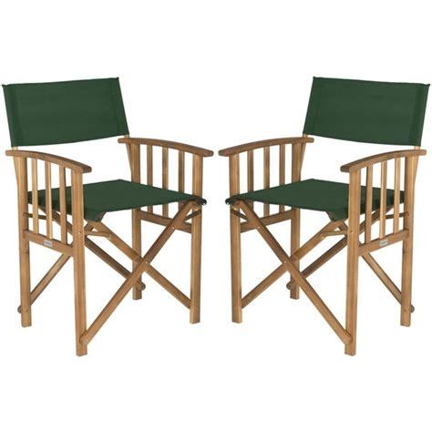 2 wood directors chairs 2 teak patio chair set green