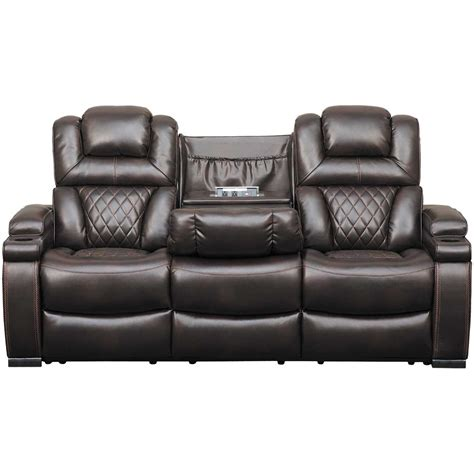 Power Reclining Loveseat by Warnerton Power Reclining Sofa With Drop Table 7540715