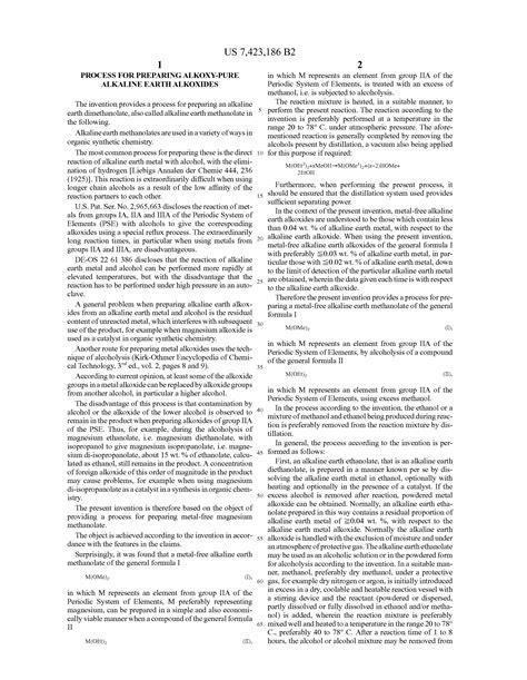 Patent Us7423186  Process For Preparing Alkoxypure Alkaline Earth Alkoxides  Google Patents