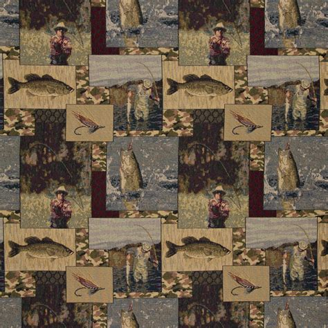 themed fabric by the yard fly fishing themed tapestry upholstery fabric by the yard 9082