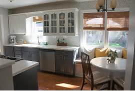 Painted Kitchen Cabinets Before And After Grey by Gray And White Kitchen Makeover With Hexagon Tile Backsplash Construction