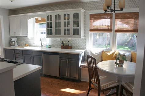 gray  white kitchen makeover  hexagon tile backsplash construction haven home