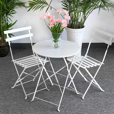 foldable bistro set alessia white 2 person steel table