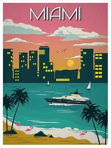 Ideastorm Studio Store  U2014 Vintage Miami Travel Poster