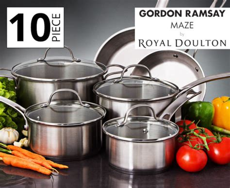 gordon ramsay pots and pans gordon ramsay by royal doulton maze 10 pc cookware set catchoftheday au