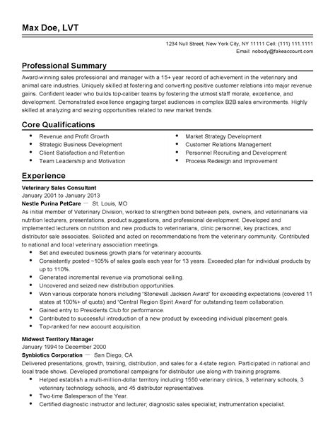 Veterinary Resume Sles by Professional Veterinary Sales Manager Templates To