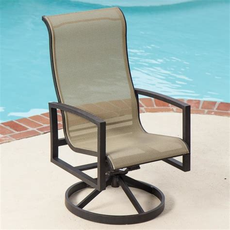 acadia sling patio swivel rocker dining chair modern