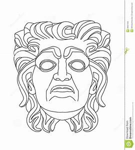 greek theatrical mask of an old man stock illustration With ancient greek mask template