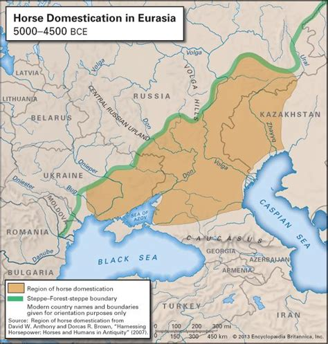 horse domestication evolution history britannica tracing horses origin map encyclopaedia inc region evidence