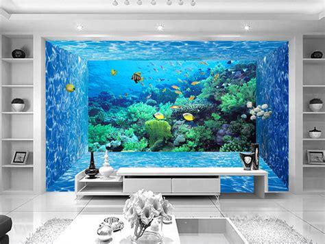 papier peint 3d fond marin effet aquarium tapisserie num 233 rique sur mesure