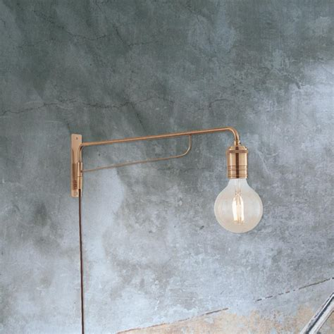 industrial brass swing arm wall light 35485 e2 contract