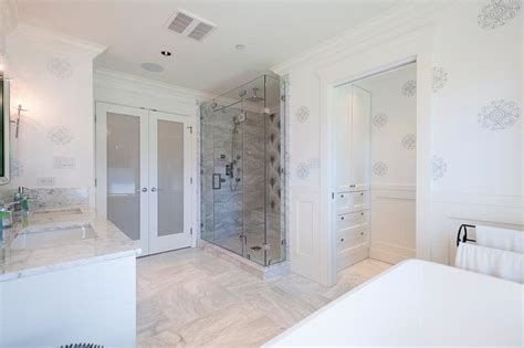 master bathroom opens up to walk in closet transitional