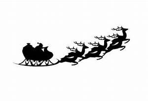 Santa Sleigh And Reindeer Silhouette Svg