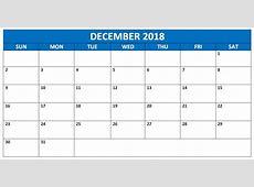 Editable December 2018 Word Calendar Printable Template