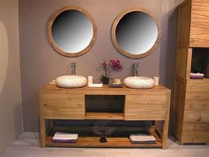 enchanteur meuble salle de bain double vasque design pas With salle de bain design avec meuble vasque bois pas cher