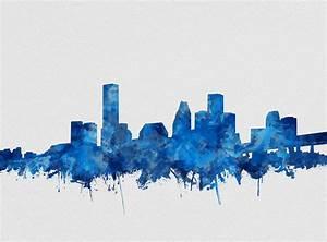 Houston Skyline Watercolor Blue Painting by Bekim Art