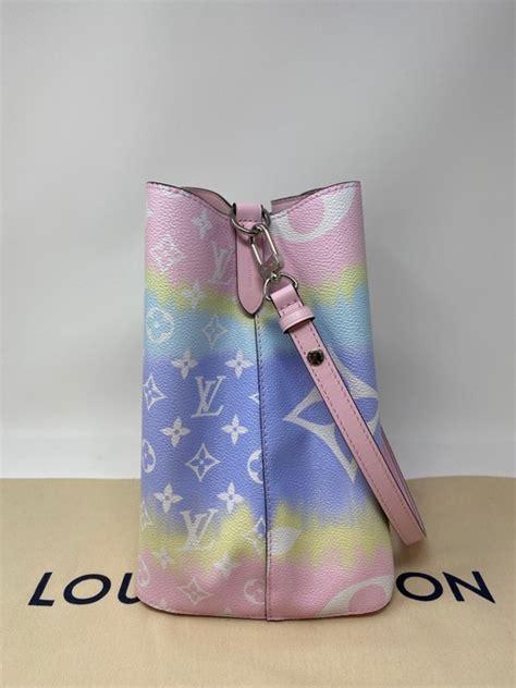 louis vuitton neonoe lv escale pastel  pink coated canvas hobo bag tradesy