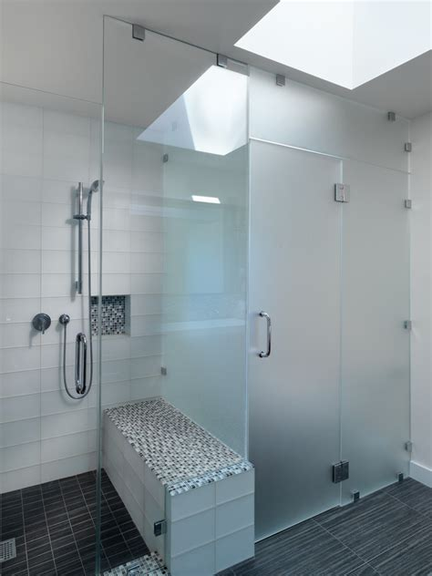 frosted glass shower doors for tubs frosted glass tile bathroom contemporary with black