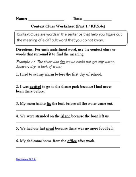 Common Core Worksheets Reading - Oaklandeffect