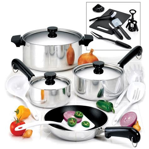 revere  piece  stick aluminum cookware set  shipping today overstockcom