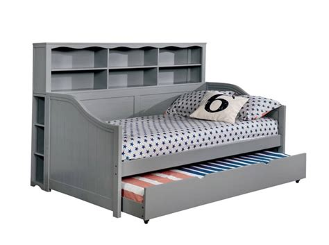 Daybed With Bookcase And Trundle by Furniture Of America Frida Gray Bookcase Daybed With