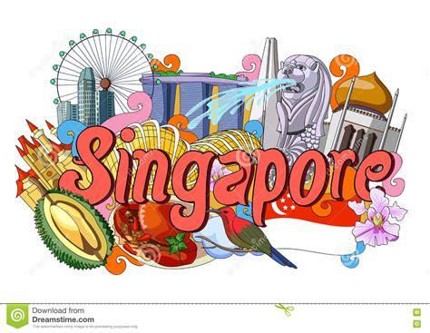 sketch  singapore tourism landmark merlion vector