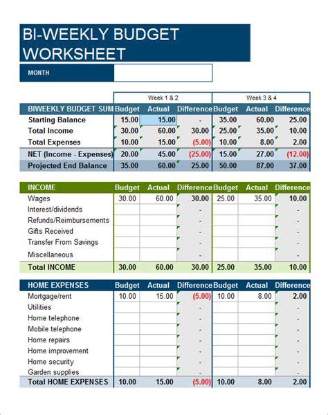 bi weekly budget template 8 exles of bi weekly budget templates sle templates