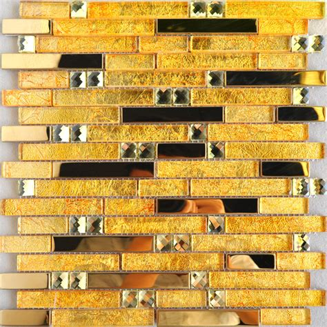 metallic tiles kitchen gold glass mosaic wall tile cheap stainless steel 4104