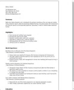resume for construction inspector professional home inspector templates to showcase your