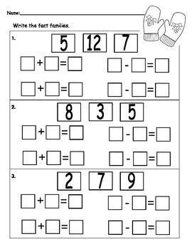 fact family worksheet fact family worksheet kids math