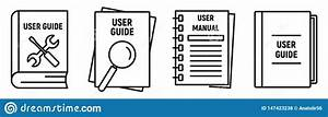 User Guide Book Icons Set  Outline Style Stock Vector