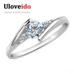 white gold plated wedding jewelry rings for engagement silver zircon cz - Verlobungsringe Swarovski